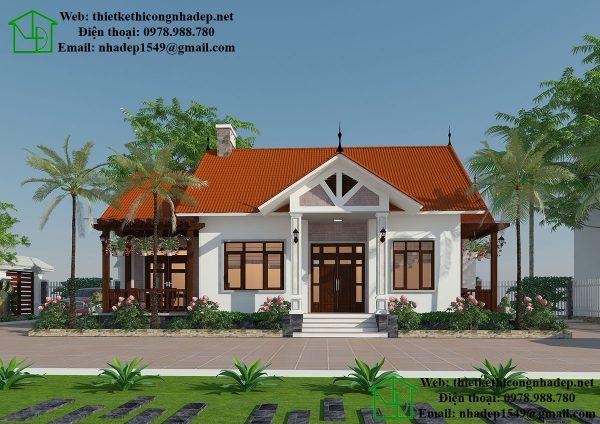 Mẫu nhà biệt thự 1 tầng đẹp, biệt thự vườn 1 tầng mái thái NDBT1T24