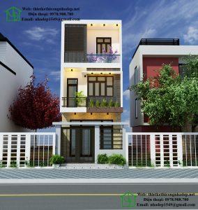 Mẫu nhà phố đẹp 3 tầng, thiết kế nhà phố đẹp 4.5x12m NDNP3T10