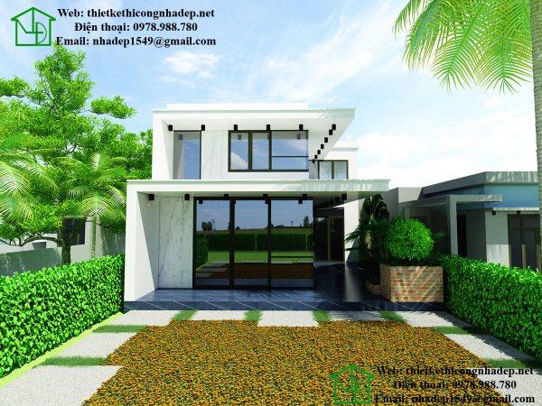 Thiết kế biệt thự 2 tầng hiện đại, mẫu biệt thự 2 tầng đẹp NDBT2T26