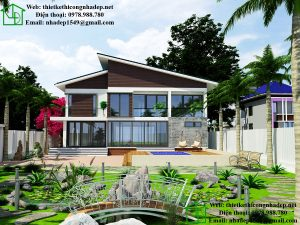 Thiết kế biệt thự 2 tầng mái lệch, mẫu thiết kế nhà 2 tầng đẹp 9x14m NDBT2T28
