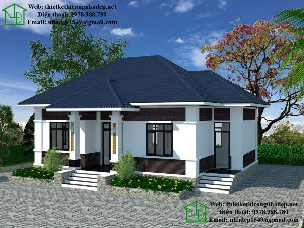 Mẫu nhà biệt thự 1 tầng, thiết kế biệt thự vườn tại Hải Phòng NDBT1T22