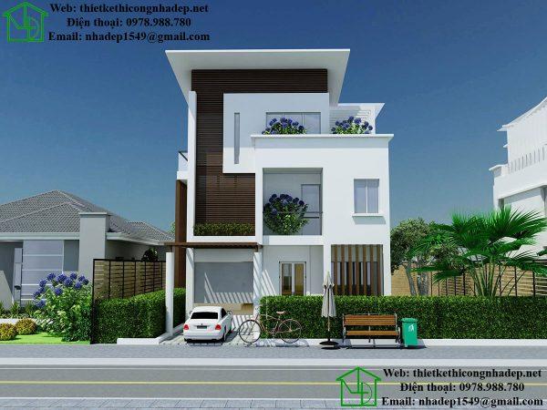 Mẫu thiết kế biệt thự 3 tầng, thiết kế nhà biệt thự 3 tầng NDBT3T10