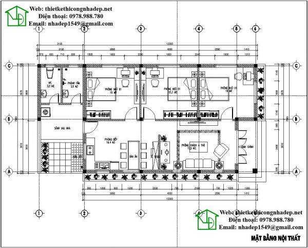 Mặt bằng nội thất biệt thự nhà vườn 1 tầng kiểu thái NDBT1T30