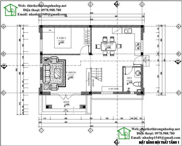 Mặt bằng tầng 1 biệt thự 2 tầng đẹp NDBT2T29