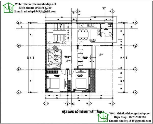 Mặt bằng tầng 1 mẫu nhà 2 tầng NDMN2T4