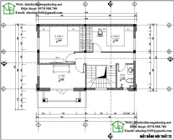 Mặt bằng tầng 2 biệt thự 2 tầng đẹp NDBT2T29