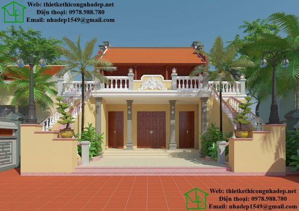 Thiết kế nhà thờ họ kết hợp nhà ở tại Nam Định NDNTH11