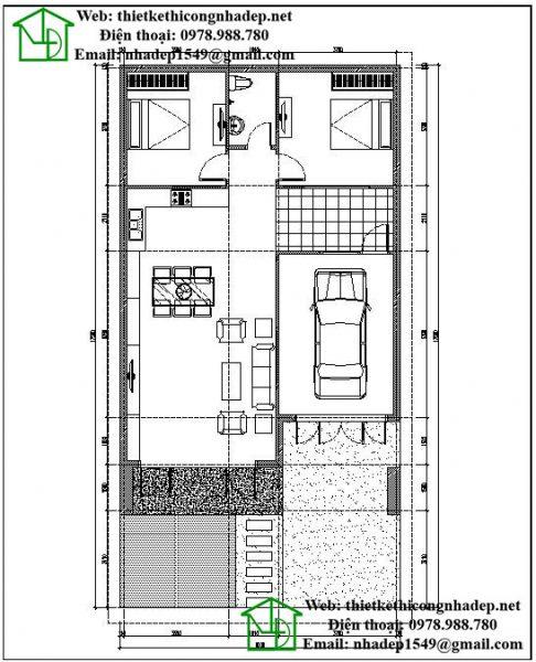 Mặt bằng nội thất biệt thự 1 tầng hiện đại NDBT1T34