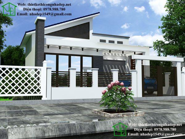 Thiết kế nhà biệt thự 1 tầng NDBT1T34