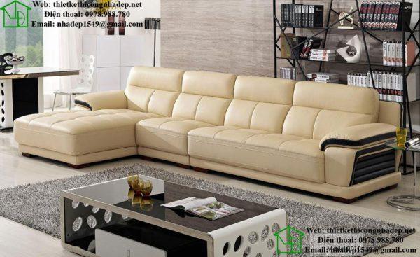 Sofa da hiện đại hình chữ L
