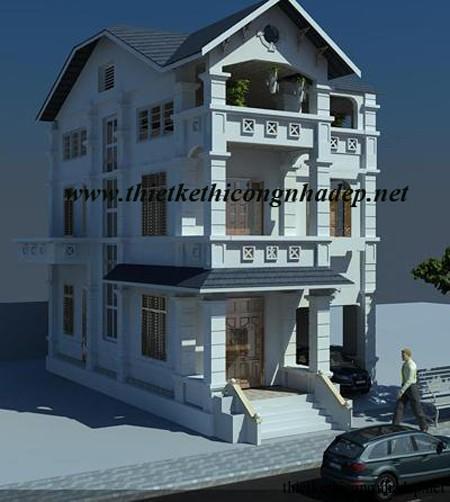 kiến trúc biệt thự đẹp 3 tầng mái thái