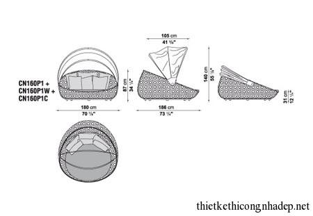 Bản vẽ thiết kế của ghế sofa thời trang