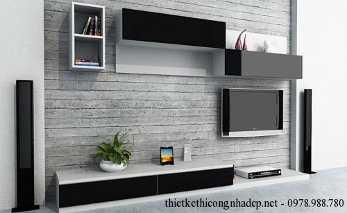 Mẫu phòng khách với kệ tivi kiểu cách