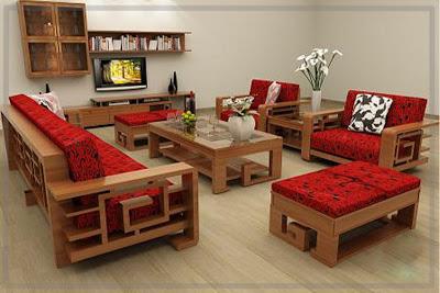 Mẫu bàn ghế sofa gỗ phòng khách