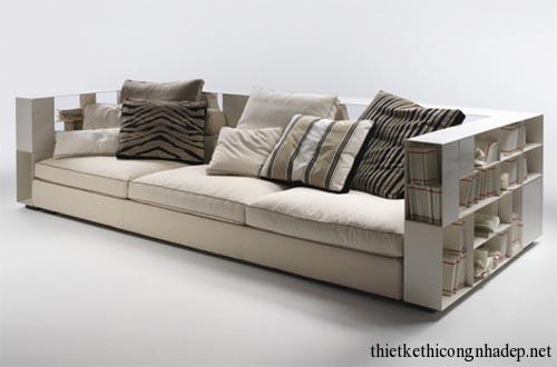 sofa kết hợp với giá sách