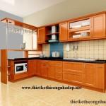 Thiết kế thi công tủ bếp bằng gỗ tự nhiên