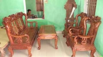 Bàn ghế phòng khách giả cổ gỗ lát khét