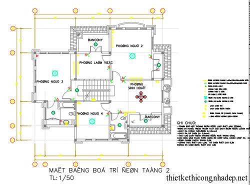 Bản vẽ thiết kế biệt thự 3 tầng đồ sơn