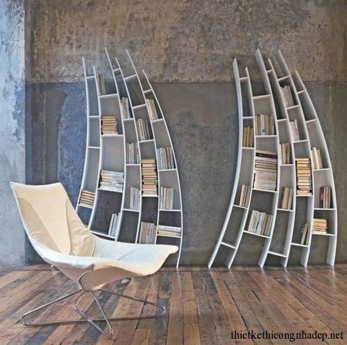 Mẫu thiết kế giá sách gỗ được thi công vào tường