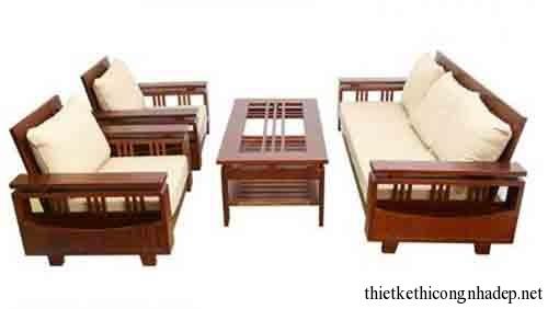Mẫu bàn ghế sofa gỗ tự nhiên đẹp