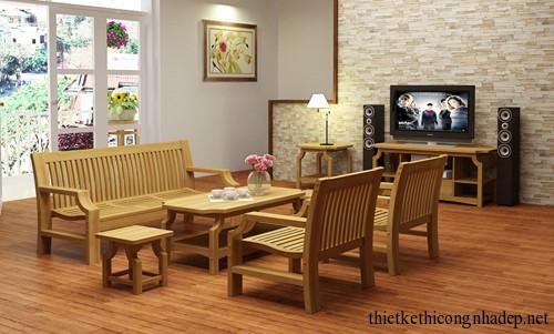 Mẫu bàn ghế sofa gỗ đẹp phòng khách