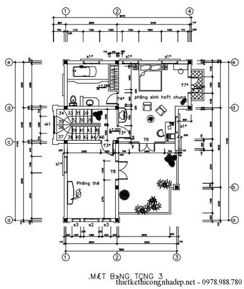 Bản vẽ mặt bằng tầng 3