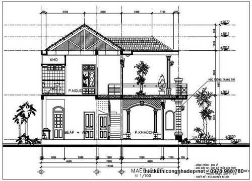 Thiết kế kiến trúc nhà hình thang 2 tầng