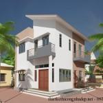 Bản vẽ thiết kế nhà ở 2 tầng mái lệch 7,44 x 7,97 mét