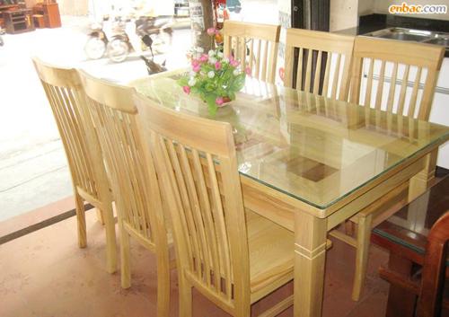 Mẫu bàn ghế phòng ăn 6 ghế gỗ sồi
