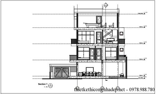 Mặt cắt của biệt thự hình thang