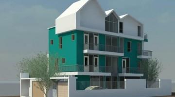 Thiết kế biệt thự hình thang vuông 4 tầng hiện đại