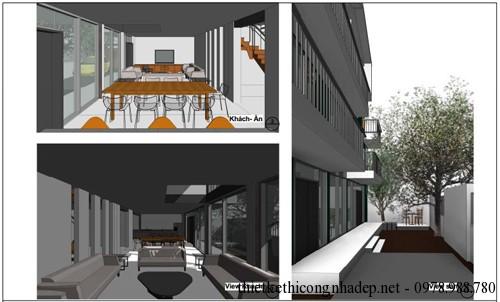 Phối cảnh phòng ăn, phòng khách và sân vườn của biệt thự