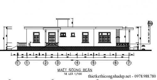 Thiết kế nhà cấp 4 mái bằng diện tích 8.5 x 24.025 mét