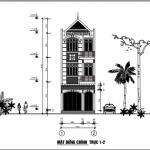Bản vẽ thiết kế nhà phố 3 tầng diện tích 4.97 x 19.52 mét
