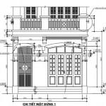 Mẫu bản vẽ thiết kế nhà phố 4 tầng cổ điển 4.85 x 12.79 mét
