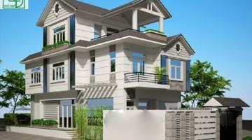 Phối cảnh thiết kế biệt thự vườn 3 tầng mái thái