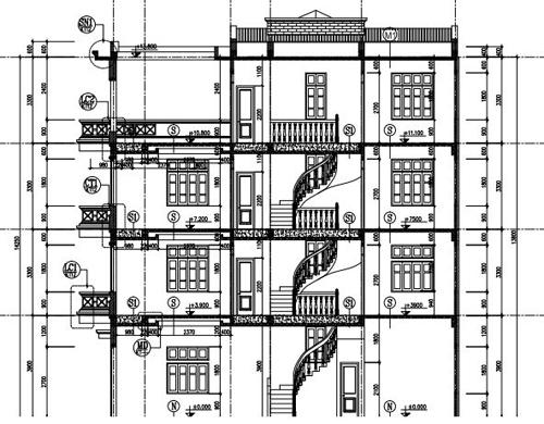 Mặt cắt A-A của nhà phố 4 tầng