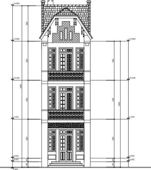 Thiết kế mặt tiền nhà phố phương án 5