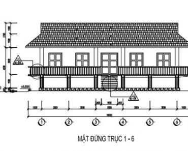 Mặt đứng trục 1-6, mặt tiền nhà sàn