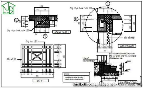 Bản vẽ ống nhựa thoát nước, hộp kỹ thuật, cửa gỗ, bậc cấp