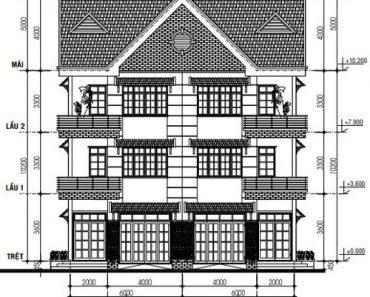 Mặt tiền biệt thự song lập 3 tầng