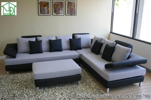 Sofa góc màu đen và trắng