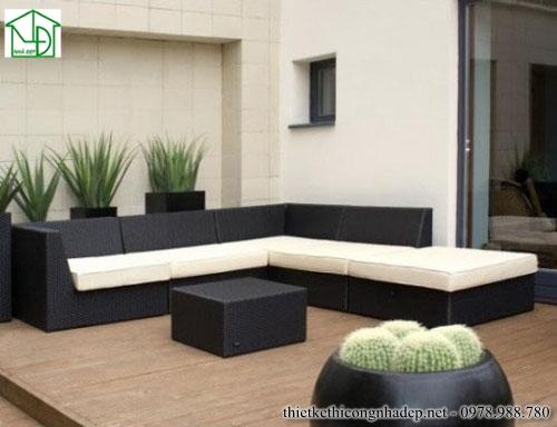 Sofa góc màu kem và đen