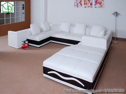 Sofa góc bẳng nỉ hình chữ U màu trắng