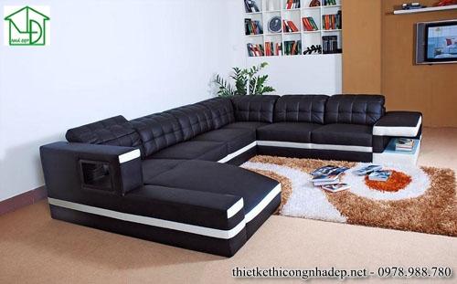Sofa góc hình chữ U bằng da