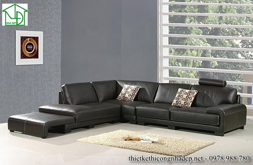 Sofa góc bằng da màu đen