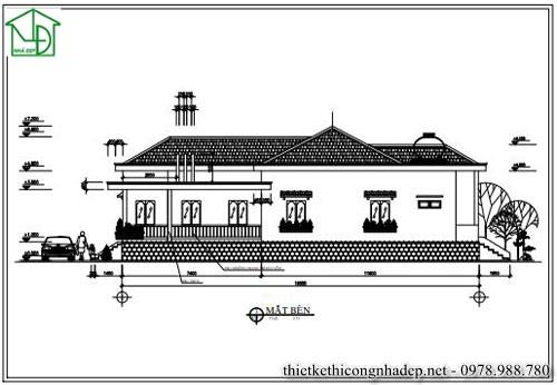 Thiết kế nhà cấp 4 mái thái hiện đại diện tích 7 x 19