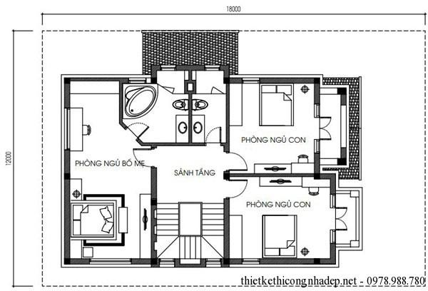Mặt bằng tầng 2 biệt thự vườn 3 tầng