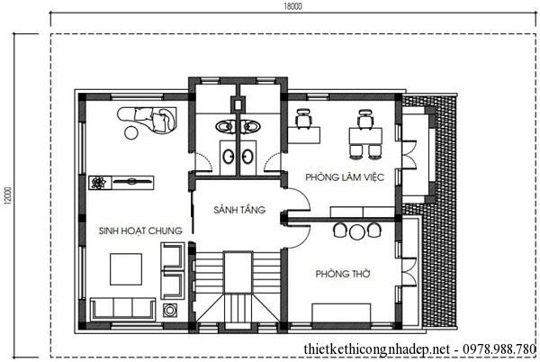 Mặt bằng tầng 3 biệt thự vườn 3 tầng