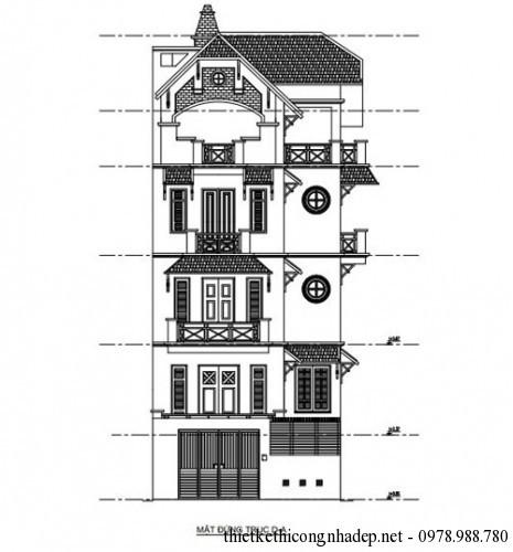 Mặt đứng trục D-A biệt thự cổ điển